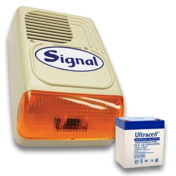 Signal PS-128-1 sziréna + 12V4Ah akku szett