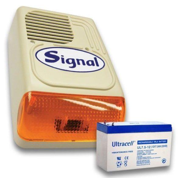 Signal PS-128-1 sziréna + 12V7Ah akku szett